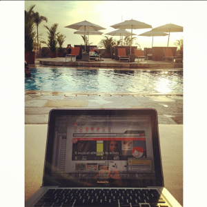 I love taking shots of my laptop while in scenic spots, haha. Or poolside.