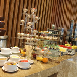 Desserts and Sweets as far as the eye can see. Mango Float, Bread and Butter Pudding, assorted chocolate truffles and rum balls, candies. Fresh fruits: Watermelon, Pineapple, Papaya, Mango, Banana, Fruit Medley.