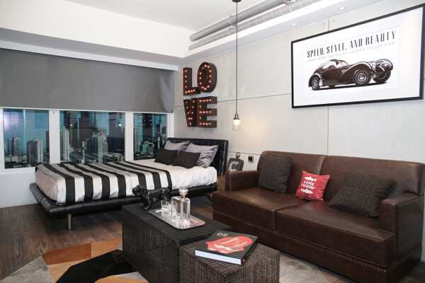 This stylish, sleek, and classy one-bedroom is a great bachelor's pad.
