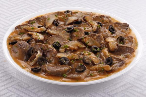 Lengua with Mushroom Sauce, P550, serves 6-8 pax; P990, serves 10-12 pax.