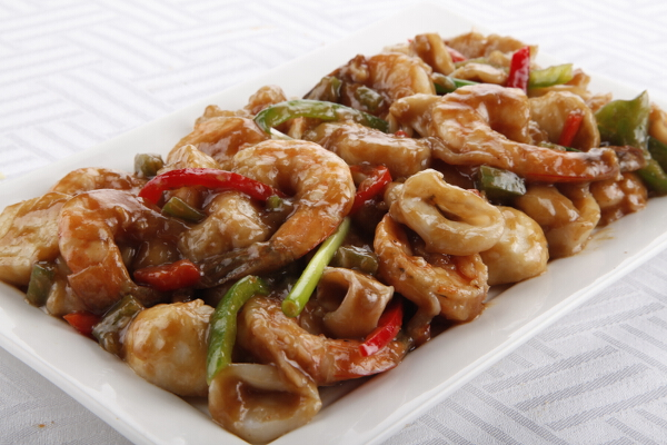 Stir Fried Mixed Seafood, P550, serves 6-8 pax; P995, serves 10-12 pax.