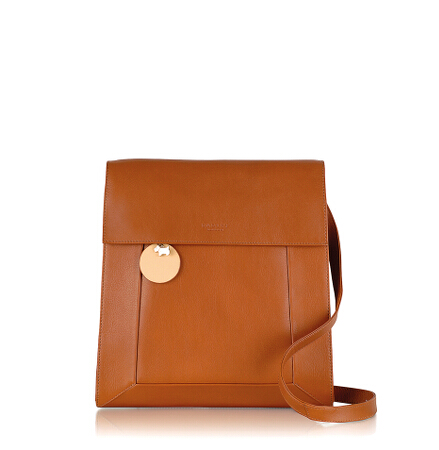 Border Large Flapover Crossbody in Tan