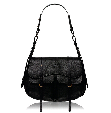 Grosvenor Large Flapover Shoulder Bag in Black