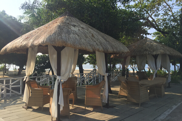 Have a few drinks in these poolside cabanas.
