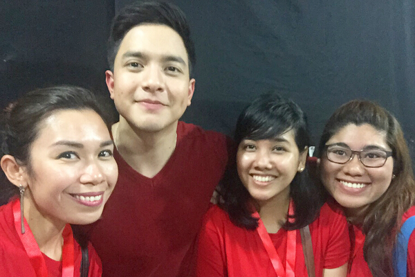 My team backstage with Alden