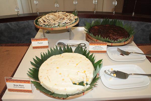 Local desserts like cassava cake and Maja Mais