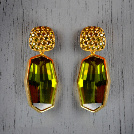 1. Elizabeth. Handcrafted earrings with peridot