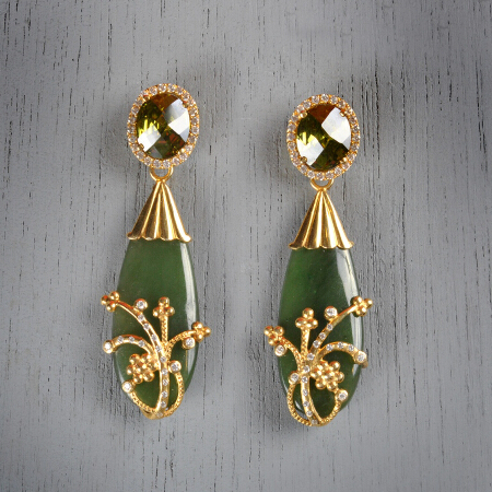 8. Evita. Handcrafted earrings with peridot and jade