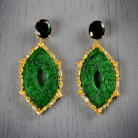 14. Grace. Handcrafted earrings with emerald, carved jade, and citrine