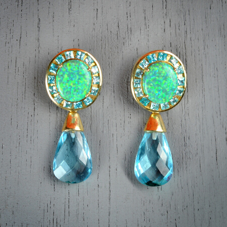 11. Helen. Handcrafted earrings with opal and aquamarine