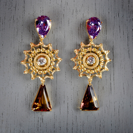 19. Jacqueline. Handcrafted earrings with amethyst & white topaz