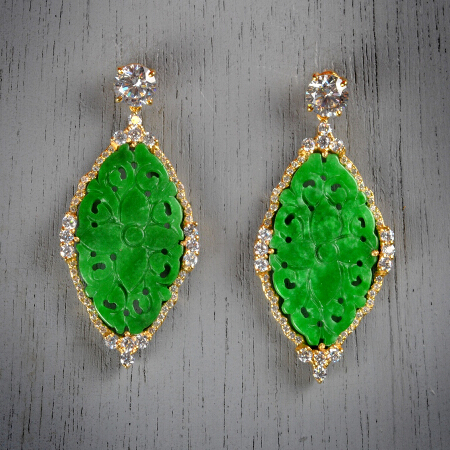 13. Joanna. Handcrafted earrings with white topaz and carved jade