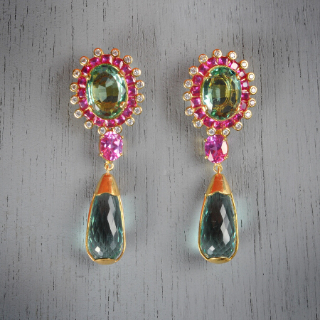 9. Kelly. Handcrafted earrings with aquamarine and pink topaz
