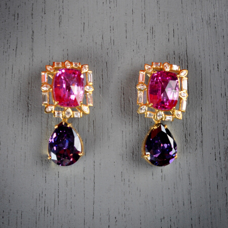 2. Amelia. Handcrafted earrings with pink topaz, amethyst, & white topaz