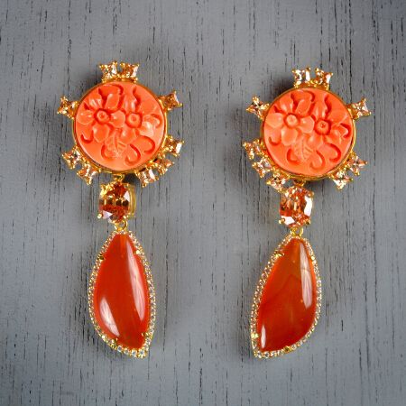 7. Margaret. Handcrafted earrings with citrine and carnelian