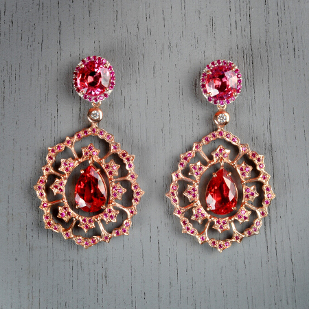 21. Rosa. Handcrafted earrings with ruby