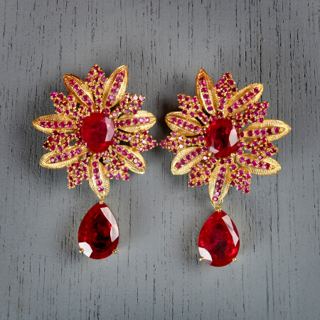 23. Rosalind. Handcrafted earrings with ruby