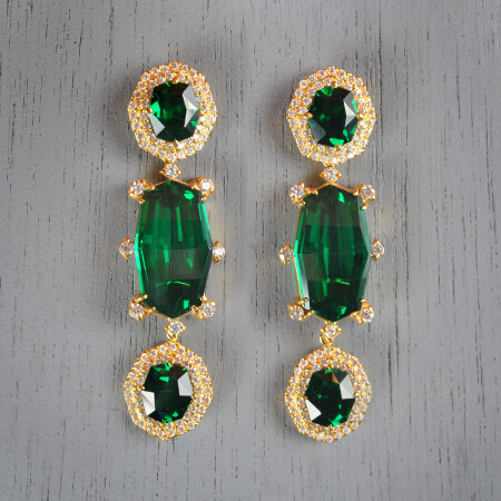 6. Audrey. Handcrafted earrings with emeralds and white topaz
