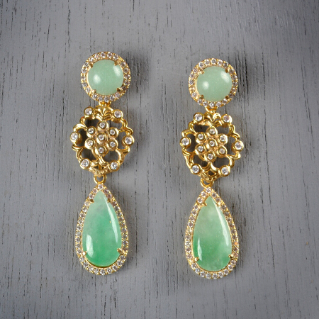 3. Aurora. Handcrafted earrings with jade and white topaz