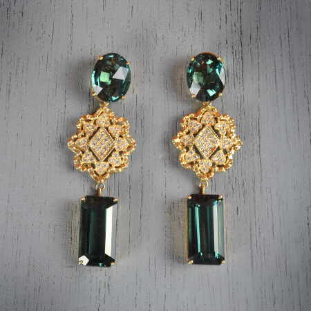 4. Bella. Handcrafted earrings with alexandrite and white topaz