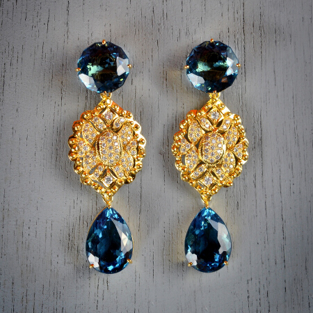 16. Cecilia. Handcrafted earrings with aquamarine and white topaz