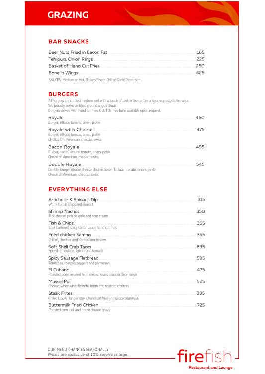 Firefish Restaurant Grazing Menu