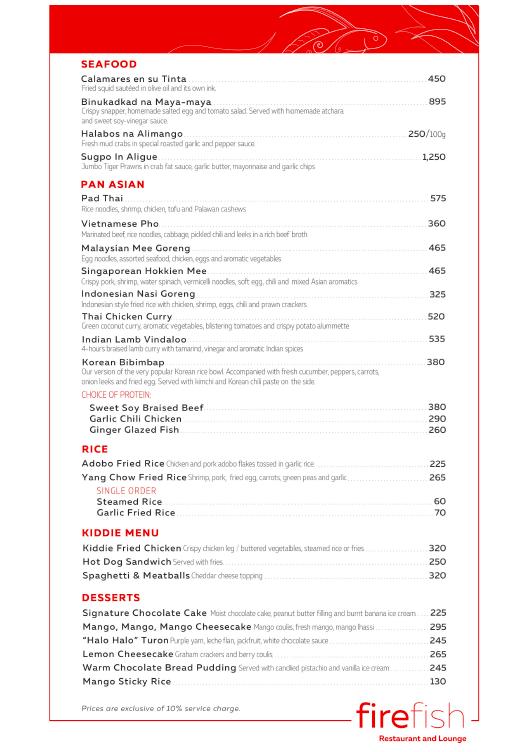 Firefish Restaurant Pan Asian Menu