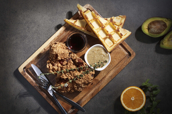 Southern Fried Chicken Served with Waffles