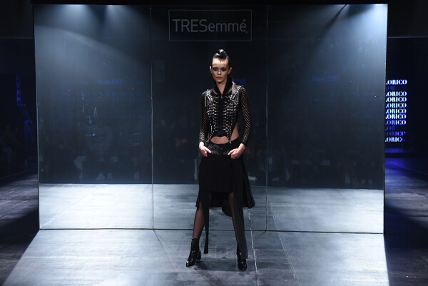 Jerome Lorico creates stunning textured metallic ensembles in a futuristic palette of silver, platinum, and black.