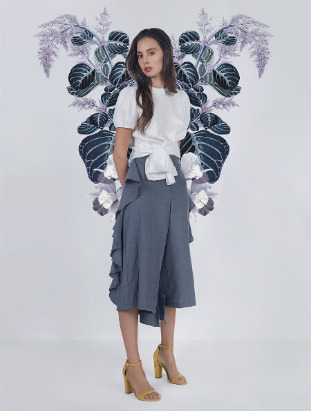 Inara top in white (P1,398) and Izabelle culottes in Chambray (P1,698)