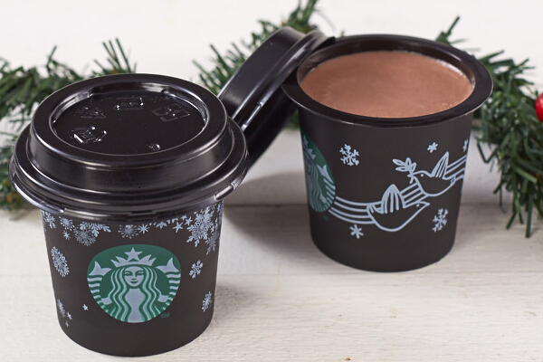 Chocolate Pudding (P65). Each mini cup is filled with a rich chocolate flavored dessert. Pudding cups come in two special holiday designs.