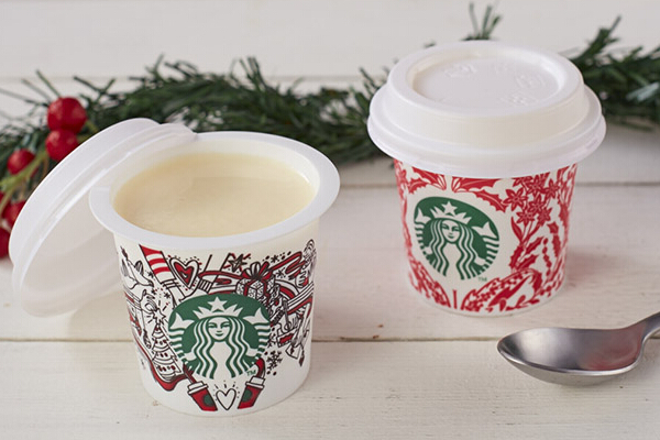 Milk Pudding (P65). Each mini cup is filled with a rich creamy milky dessert. Pudding cups come in two special holiday designs.