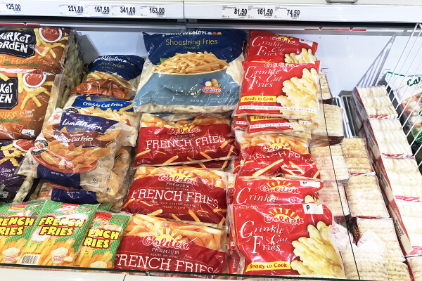 frozen US potatoes in freezer at Rustans
