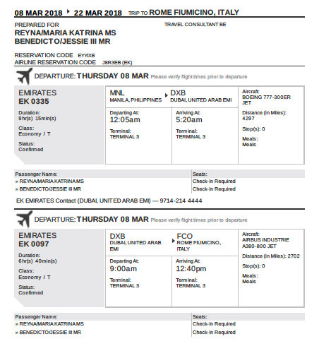 Emirates Itinerary supposedly issued by IATA on Feb 19