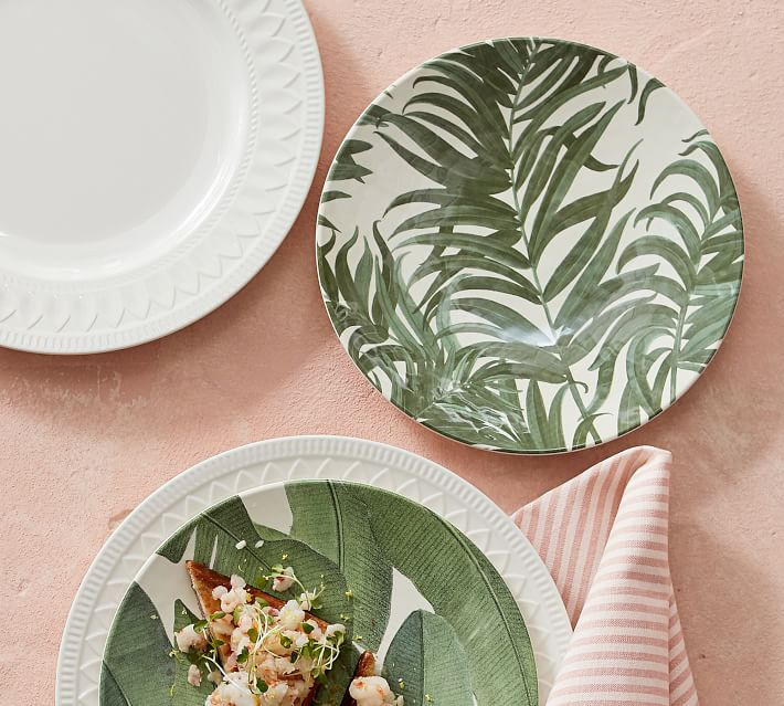 34.  Pottery Barn, Coconut Palm Plates, P495 (Dinner), P445 (Salad)