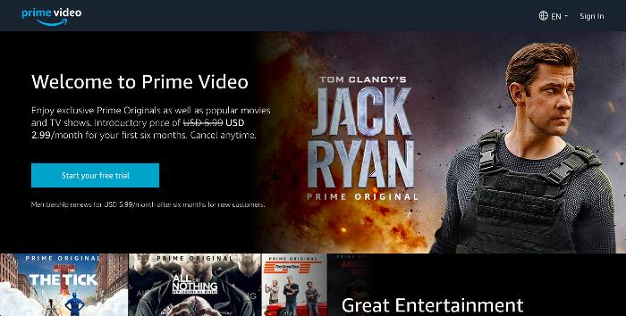 Amazon Prime Video landing page