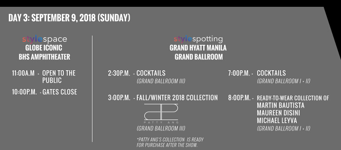 Stylefest Sept 9 sched