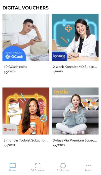 Globe Rewards Digital Vouchers list