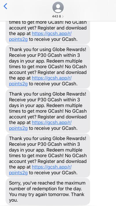 Globe Rewards GCash credit SMS and limit