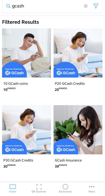 Globe Rewards GCash rewards list