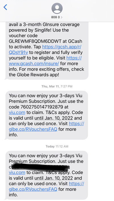 Globe Rewards Viu Premium Subscription SMS